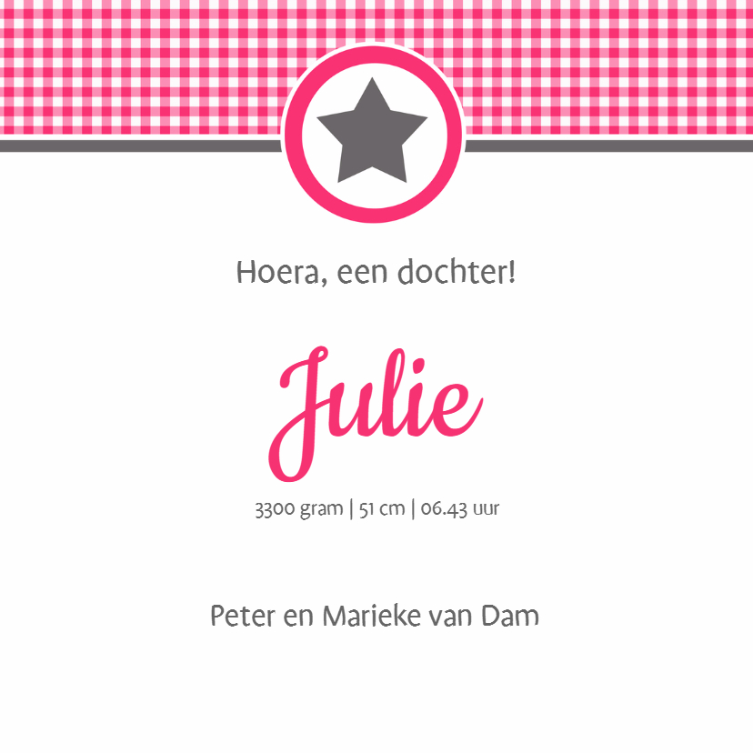 Geboortekaartje Julie LW 3