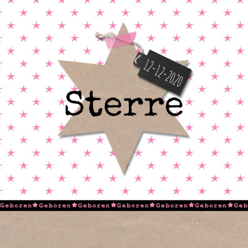 Geboortekaartje kraft ster roze 1