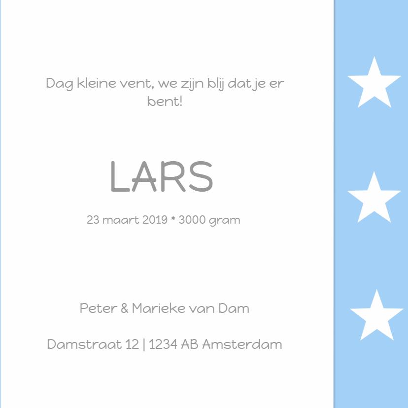 Geboortekaartje Lars ster 3