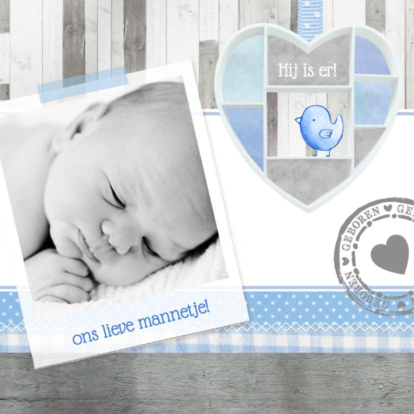 Geboortekaartje lief houten hart 1