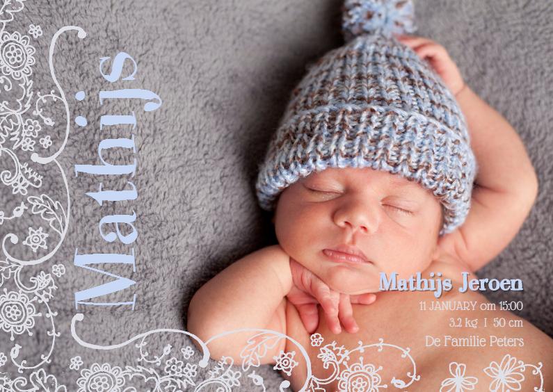 Geboortekaartje Lijn Bloem Blauw 1