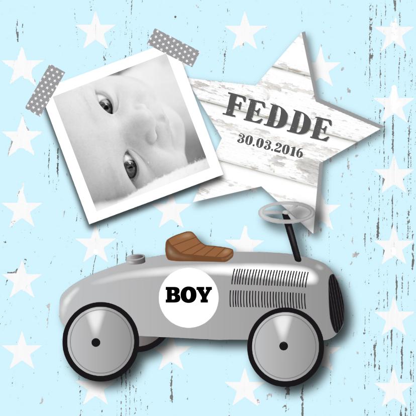 Geboortekaartje loopauto jongen 1