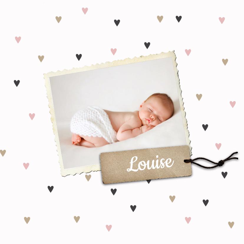 Geboortekaartje Louise hartjes 1
