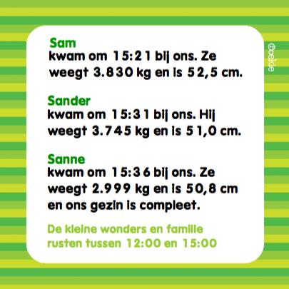 Geboortekaartje Meerling Groen 3