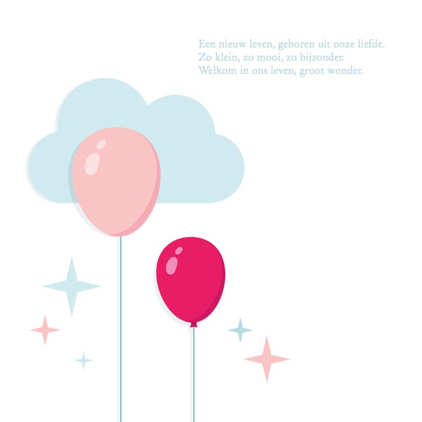 Geboortekaartje Meisje Ballonnen 2
