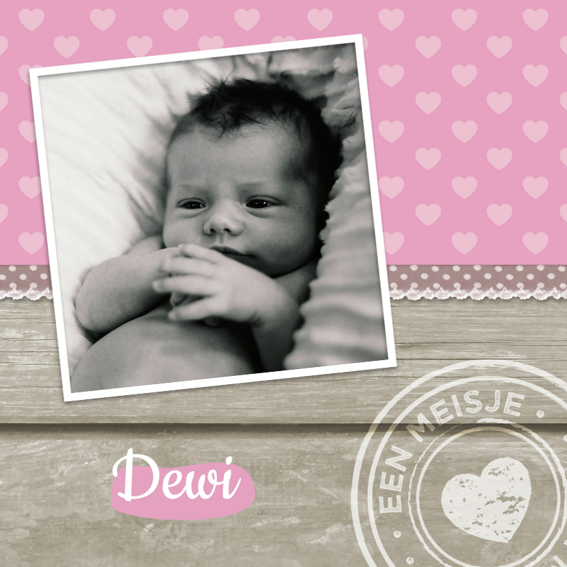 Geboortekaartje Meisje Hout 1LS3 1