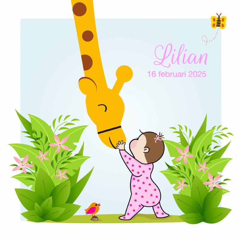 Geboortekaartje meisje met giraf 1