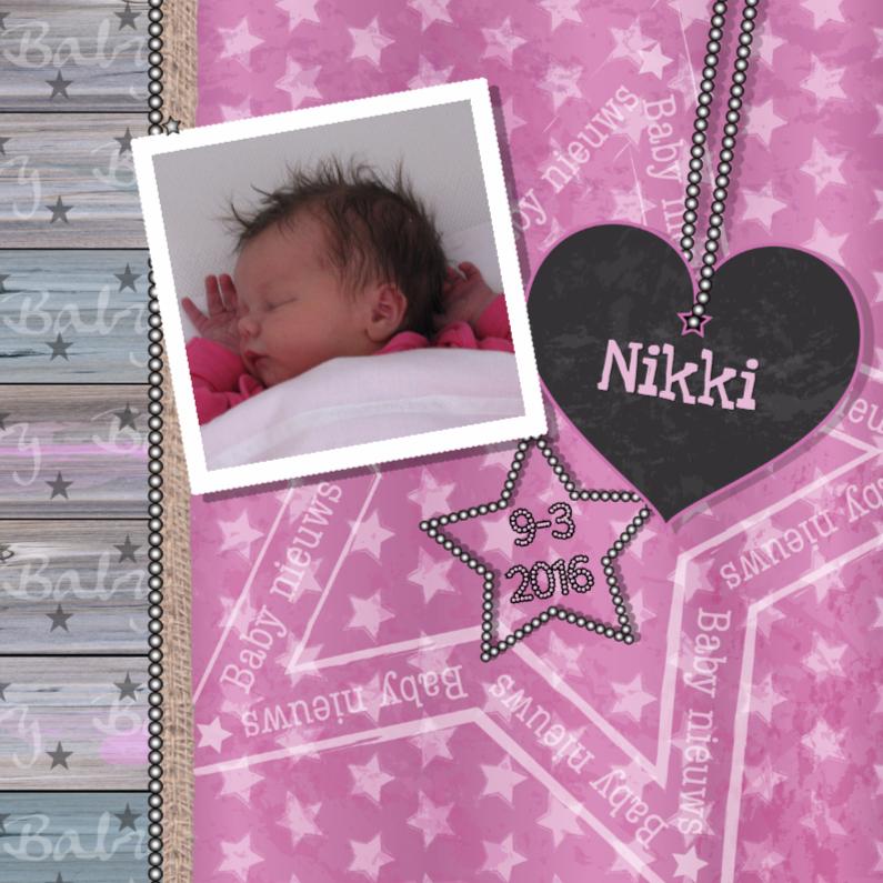 geboortekaartje meisje roze ster 1