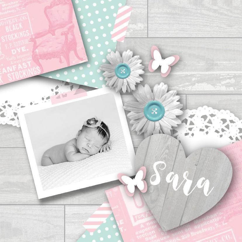Geboortekaartje meisje sweet pastel 1