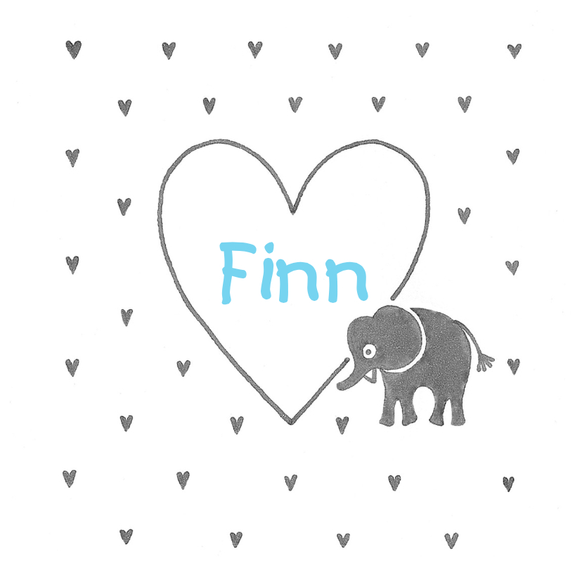 Geboortekaartje olifant hart 1