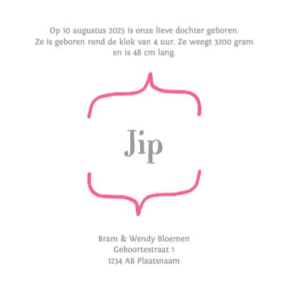 Geboortekaartje roze - DH 3