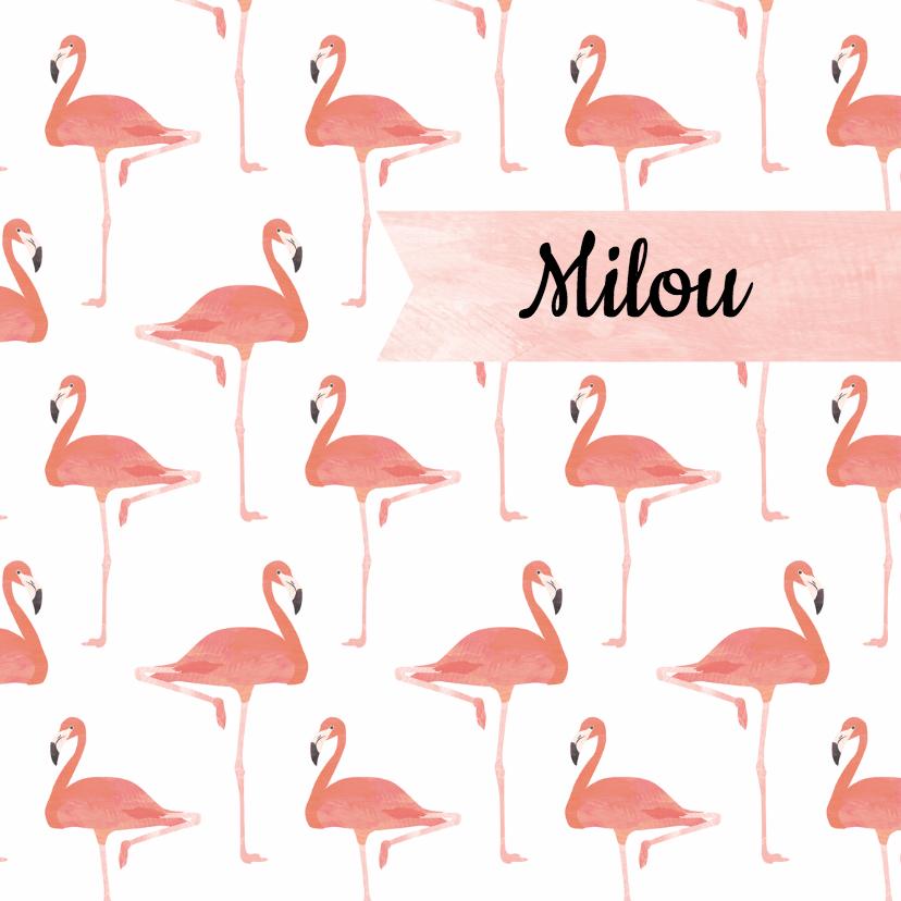 Geboortekaartje roze flamingo's 1