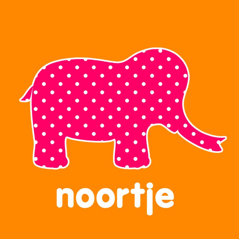Geboortekaartje Roze olifant 1