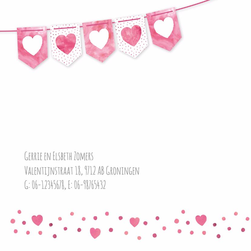 Geboortekaartje roze vlaggetjes 2