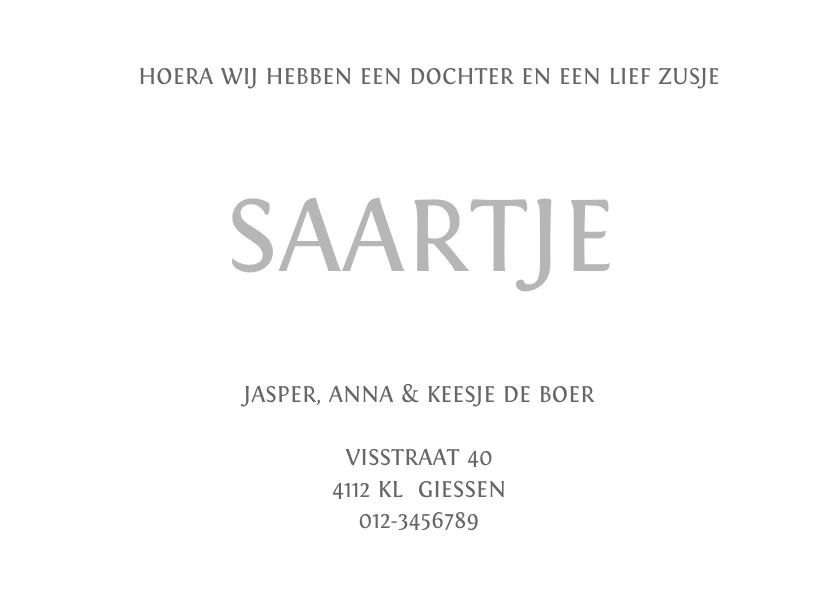 Geboortekaartje Saartje 3