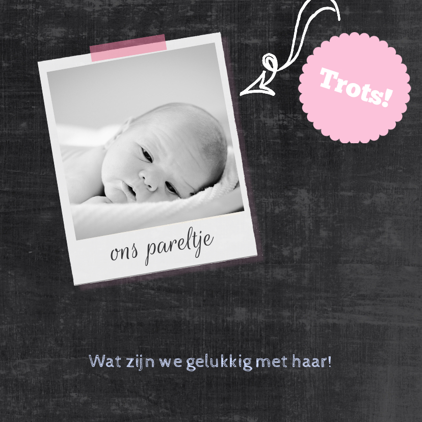 Geboortekaartje schoolbord roze 2