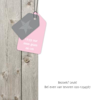 Geboortekaartje Sophie hout label 2