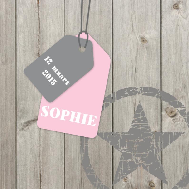 Geboortekaartje Sophie hout label 1