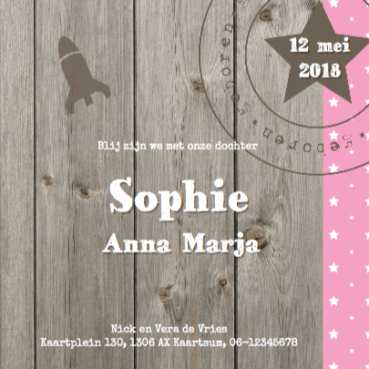 Geboortekaartje Sophie Label 3