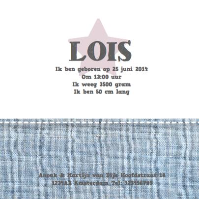 Geboortekaartje Stars&Jeans Roze 3