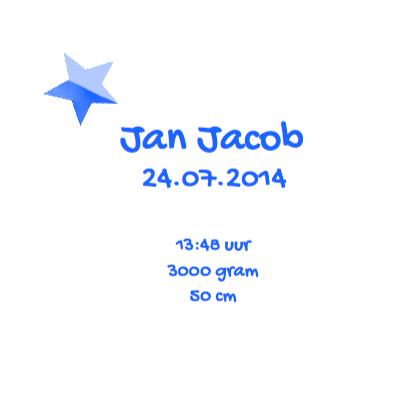 Geboortekaartje ster Jan 3