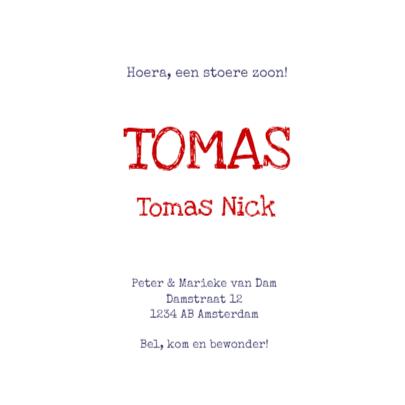 Geboortekaartje ster Tomas 3