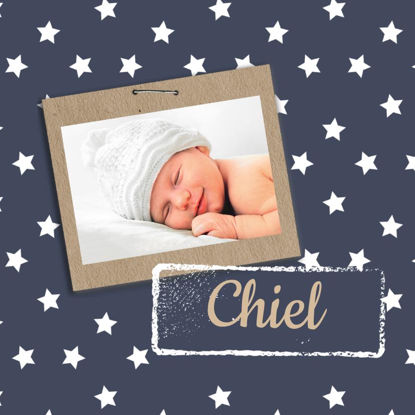 Geboortekaartje sterren en label 1
