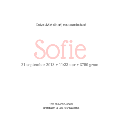 Geboortekaartje - Stijgerhout - roze 3