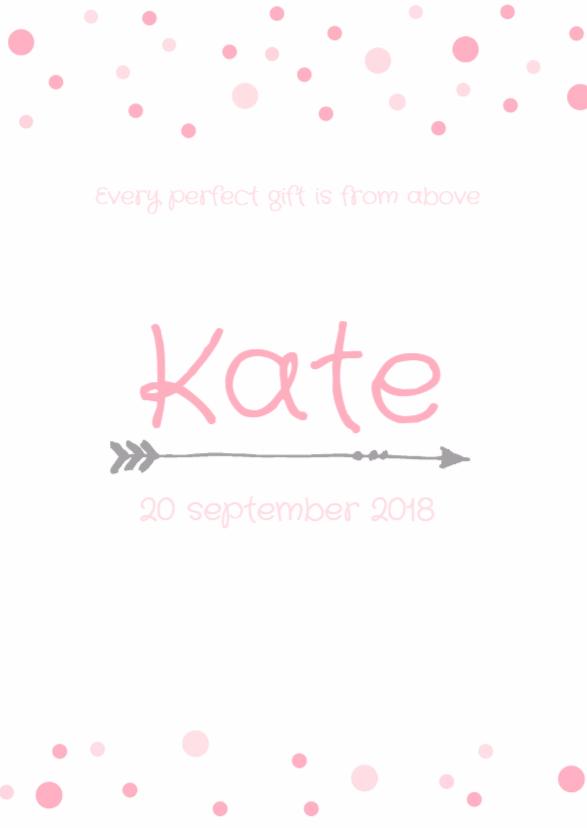 Geboortekaartje stippen Kate 1