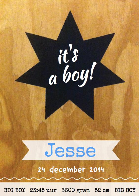 Geboortekaartje stoer hip Jesse 1