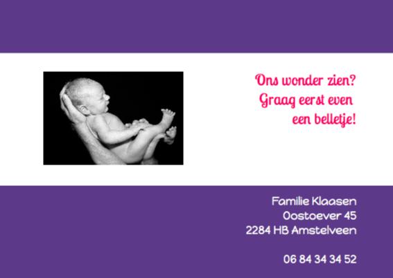 Geboortekaartje Strak 3 2