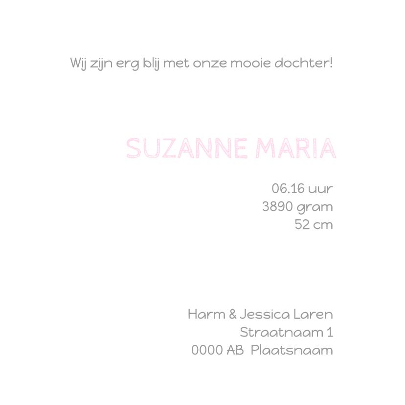 Geboortekaartje Suzanne patch 3