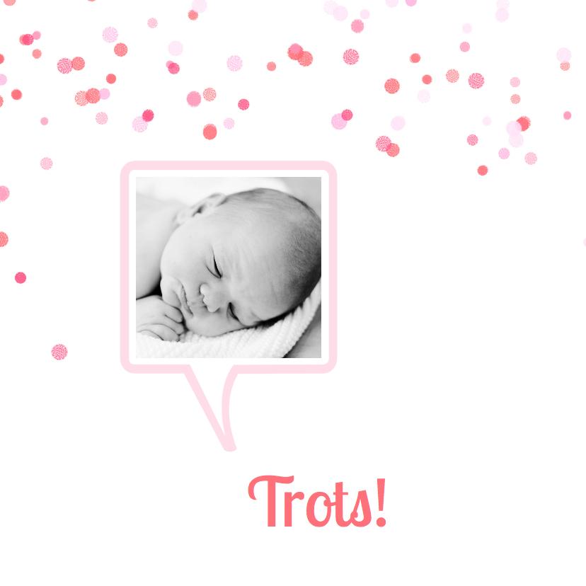 Geboortekaartje tekstwolk roze 2