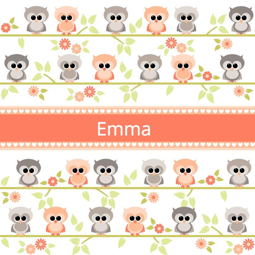 Geboortekaartje uiltjes Emma 1