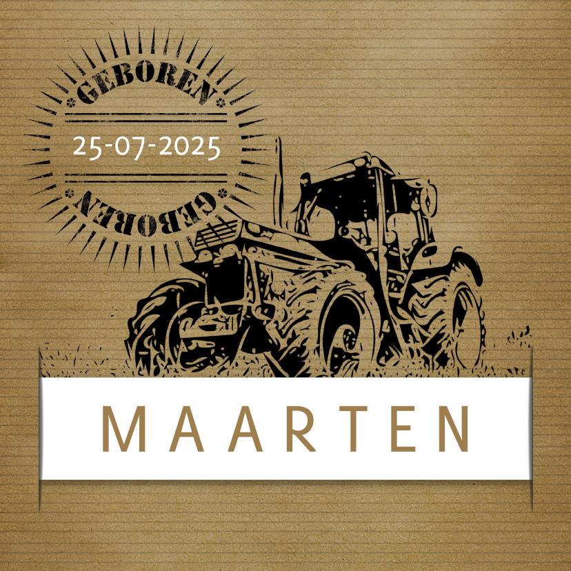 Geboortekaartje vintage tractor  1