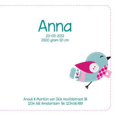 Geboortekaartje Vogeltjes Meisje 3