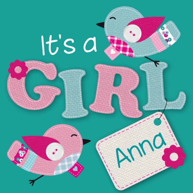 Geboortekaartje Vogeltjes Meisje 1