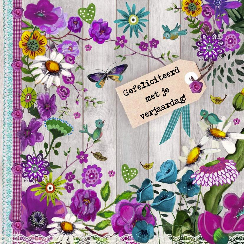Gefeliciteed Hout Bloemen Paars 1