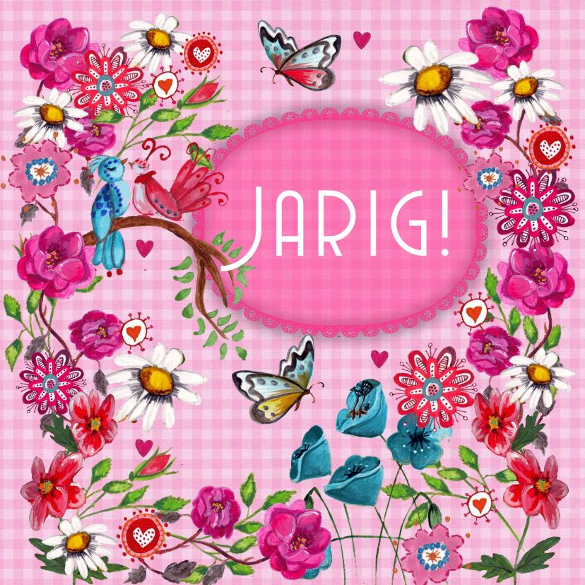 Gefeliciteerd BB Bloemen Roze Vlinders 1