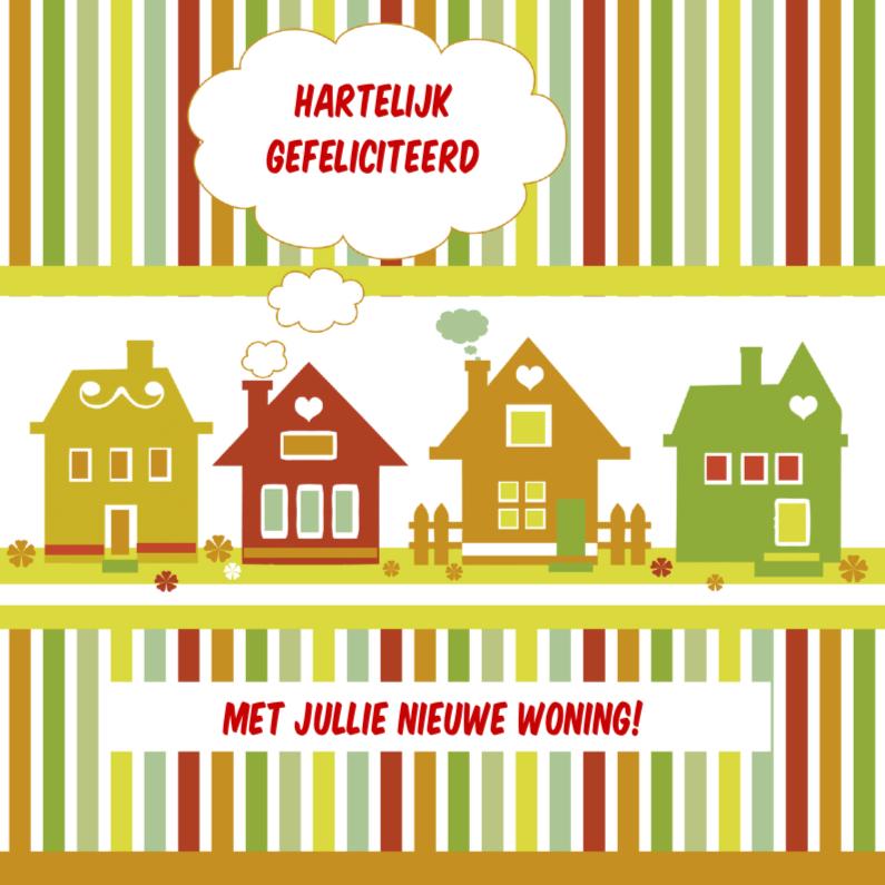 Gefeliciteerd gekleurde huisjes 1