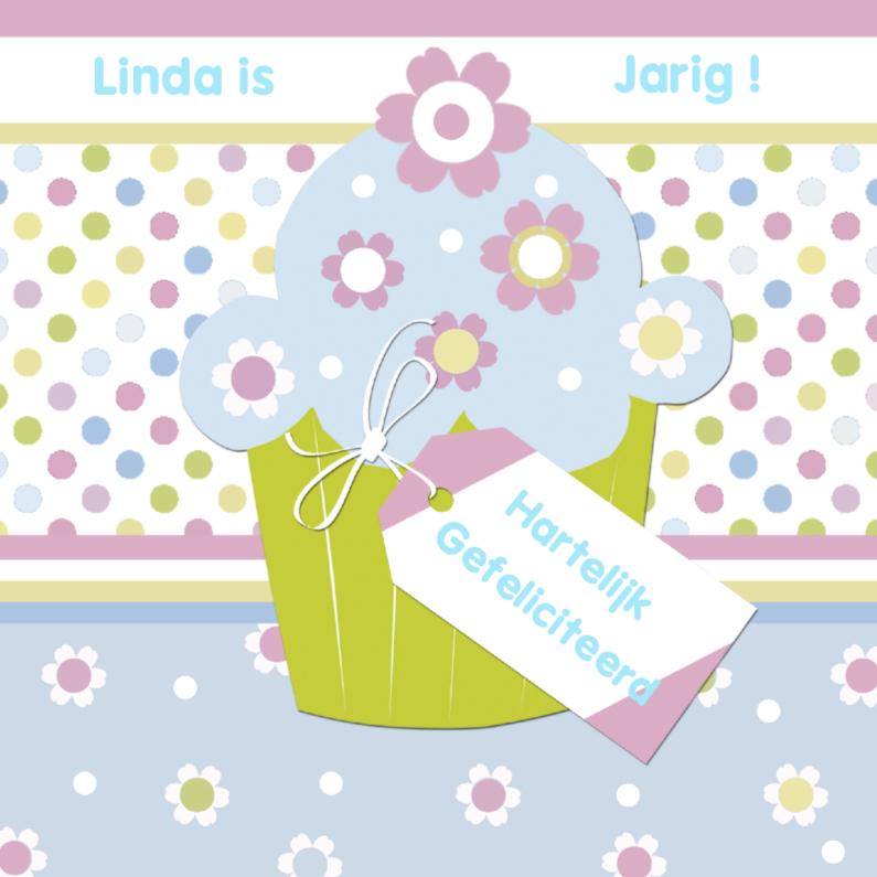 Gefeliciteerd met cupcake en label 1