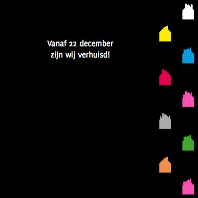Gekleurde huisjes label op zwart 3
