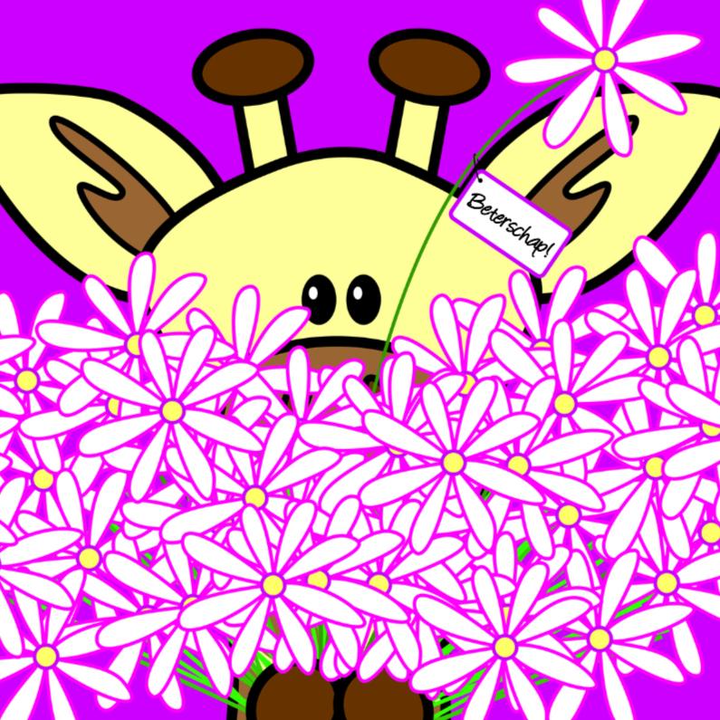Giraf met grote bos bloemen 1