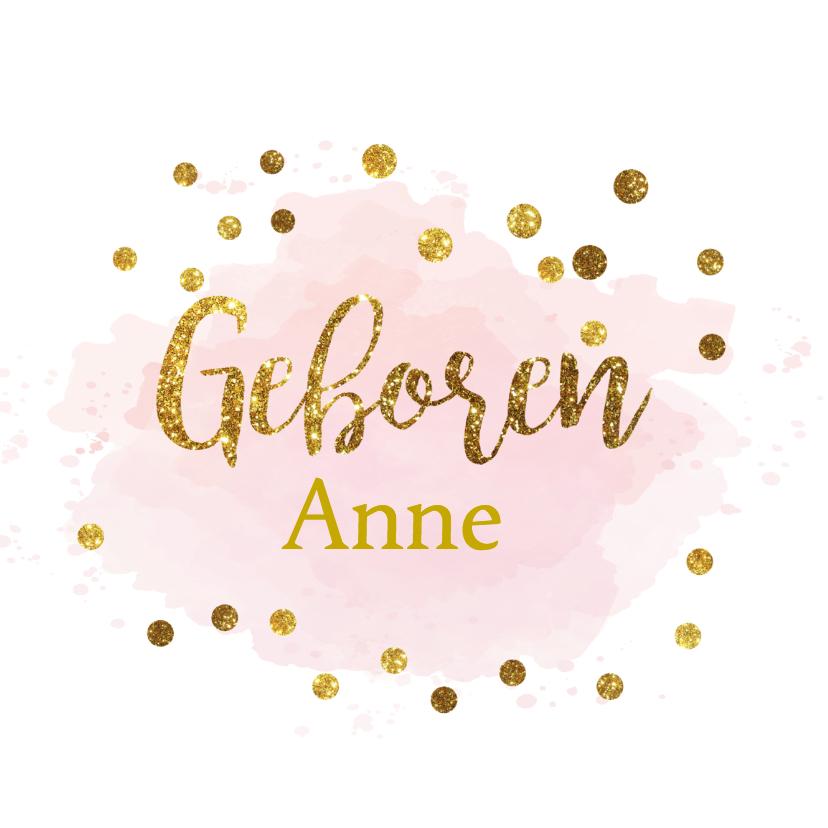 gouden aquarel geboortekaartje 1