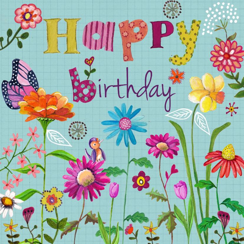 Happy Birthday BLOEM Bloemen Vrolijk B 1