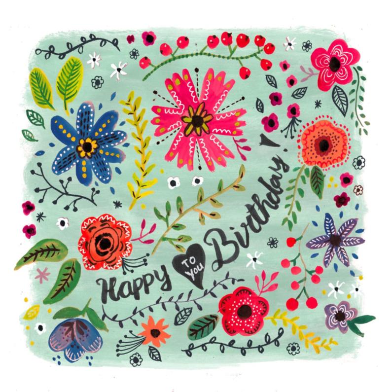 Happy Birthday Bloemen Vrolijk 1