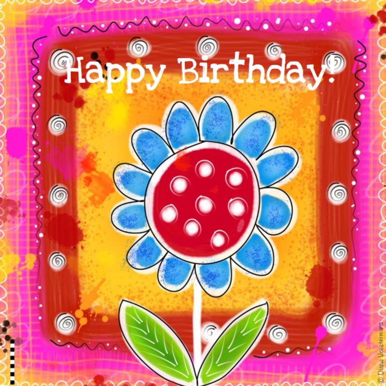 Happy Birthday kleurige bloem 1