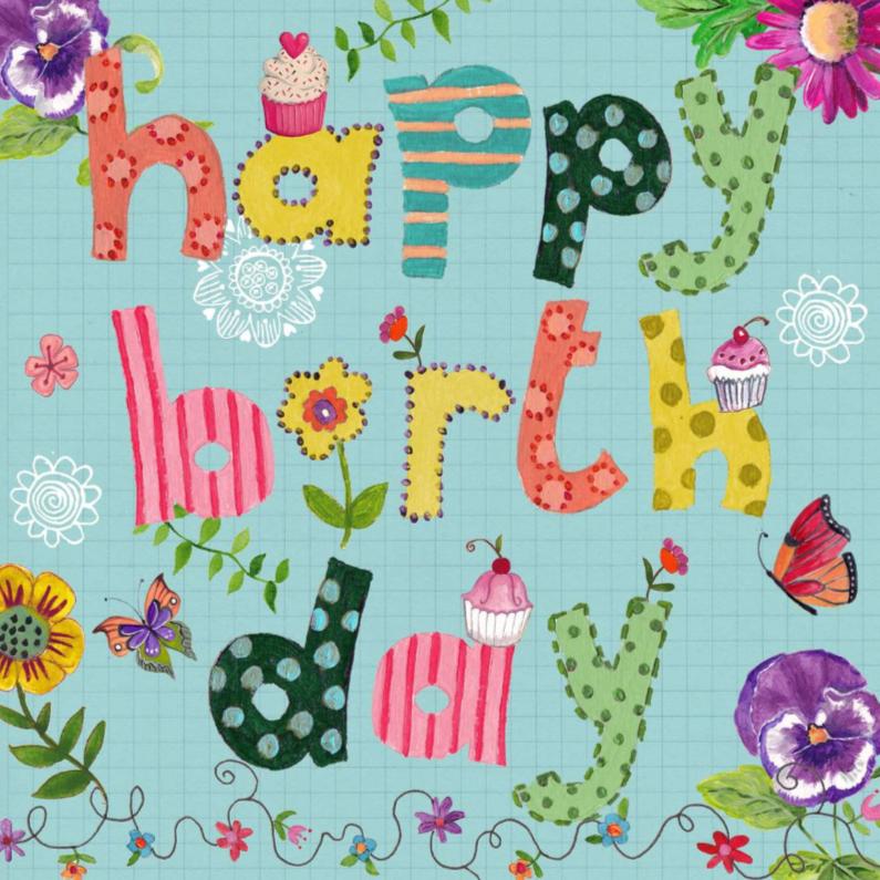 Happy Birthday Letters Bloemen Vrolijk B 1
