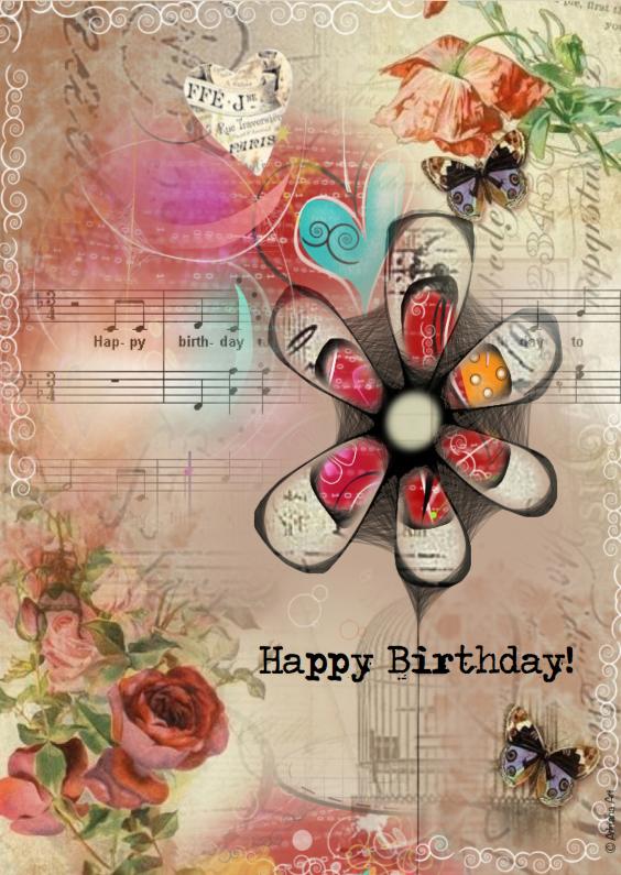 Happy Birthday mixed media 1
