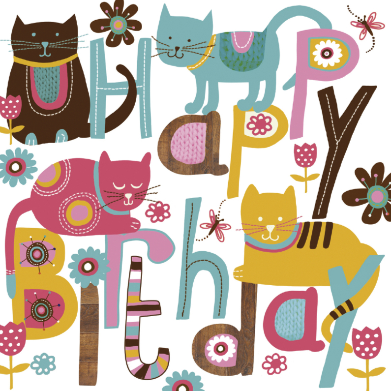 Happy Birthday tekst met leuke katten 1